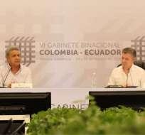 PEREIRA, Colombia.- el mandatario de Ecuador, Lenín Moreno, ofreció su respaldo irrestricto a los esfuerzos a favor de un acuerdo con la que es considerada la última guerrilla activa en Colombia. Foto: Secom