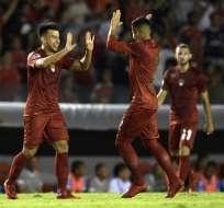 Fernando Gaibor hizo el gol del empate para el elenco argentino. Foto: AFP