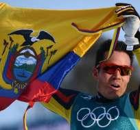 El ecuatoriano Klaus Jungbluth, 112º en los 15 kilómetros de esquí de fondo. Foto: AFP
