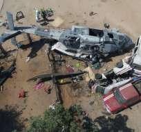 Personas murieron cuando se desplomó helicóptero que evaluaba daños por sismo. Foto: Archivo AFP