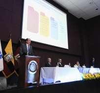 QUITO, Ecuador.- El fiscal Carlos Baca Mancheno durante la rendición de cuentas de la Fiscalía. Foto: Flickr Fiscalía.