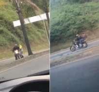 Durante tiroteo murió un taxista y quedó herido un motociclista. Foto: Collage capturas video