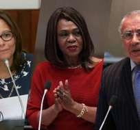 Elizabeth Cabezas (PAIS), Mae Montaño (CREO) y René Yandún (BIN) aspiran al cargo. Foto: Collage Flickr Asamblea