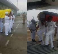 Cuerpos de dos de los tres fallecidos fueron trasladados a la provincia del Guayas. Foto: Armada