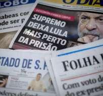 La suprema corte de justicia de Brasil autorizó el miércoles la detención de Lula. Foto: AFP