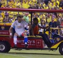 El delantero salió lesionado del compromiso jugado en el estadio Monumental. Foto: API