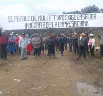 Autoridades afirman que un grupo de comuneros ingresó arbitrariamente a instalaciones de la mina Río Blanco. Foto: Yasunidos.