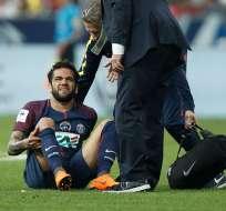 El futbolista brasilero se lesionó cuando su equipo disputaba la Copa de Francia contra Les Herbiers. Foto: Fox Sports