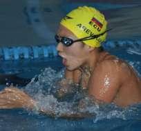 Tras esta competencia, la nadadora cuencana viajará a Bolivia para participar en los Juegos Deportivos Sudamericanos. Foto:Andes