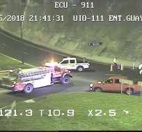 Accidente se dio entre 7 vehículos y un bus interprovincial en la Panamericana Norte. Foto: Twitter ECU 911