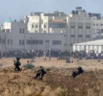 Los gazatíes protestan contra la inauguración de la embajada estadounidense en Jerusalén. Foto: AFP