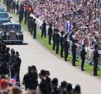 Harry de Inglaterra y la estadounidense Meghan Markle, ahora duques de Sussex, se casaron este sábado en Windsor. Foto: AFP