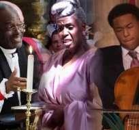 El obispo Michael Curry, la directora del coro de góspel Karen Gibson y el violoncelista Sheku Kanneh-Mason.