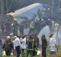 El avión cayó instantes después de haber despegado desde La Habana cuyo destino era la ciudad de Holguín. Foto: AFP