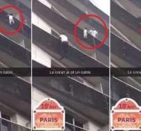 Un joven trepó la fachada de un edificio con balcones en París para socorrer a un niño de cuatro años. Captura de video