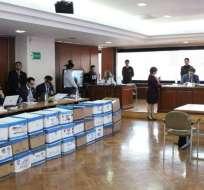 QUITO, Ecuador.- La audiencia de juicio por concusión se desarrolla en la Corte Nacional de Justicia. Foto: Twitter Fiscalía