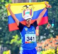 Andrés Chocho ganó la carrera de 50 km. Foto: Tomada de @DeporteCZ1