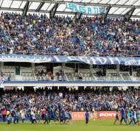 Durante el partido con Técnico Universitario, el Capwell cumplía una sanción en la platea alta de su estadio. Foto: API