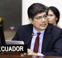 ECUADOR.- El diplomático José Valencia asumió este 12 de junio de 2018 el ministerio de Relaciones Exteriores. Foto: Cancillería