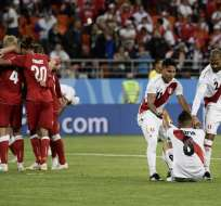 Los 'incas' cayeron 1-0 ante Dinamarca en el Mordovia Arena. Foto: Filippo MONTEFORTE / AFP