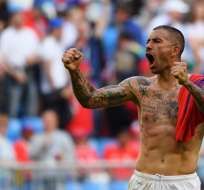 Aleksandar Kolarov hizo el gol de la victoria para el equipo europeo. Foto: MANAN VATSYAYANA / AFP