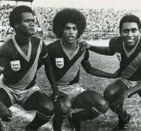 """""""Memín"""" Ortiz (derecha) junto a Juan Tenorio y Carlos Torres Garcés en el año 1976. Foto: Antonio Ubilla"""