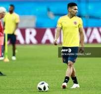 KAZÁN, Rusia.- Radamel Falcao durante su entrenamiento en el estadio previo al cotejo contra Polonia. Foto: AFP