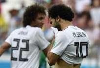 El delantero egipcio hizo dos tantos en este Mundial. Foto: NICOLAS ASFOURI / AFP
