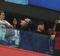 El exjugador de la selección argentina vivió el partido de manera intensa. Foto: OLGA MALTSEVA / AFP