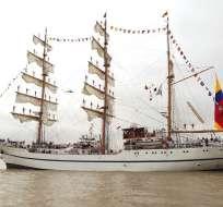 Liderados por el Buque Escuela Guayas, otras embarcaciones arribaron por evento turístico. Foto: ecuavisa.com