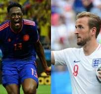 Yerry Mina (Colombia) y Harry Kane (Inglaterra) jugarán como titulares en este partido. Foto: AFP