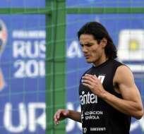 Cavani sufre una lesión en su pierna izquierda. Foto: AFP