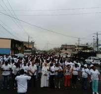 """Esmeraldas, ECUADOR.- """"San Lorenzo es desarrollo, la paz es un derecho"""", fue una de las consignas de la marcha. Foto: Twitter"""