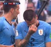 NIZHNI NÓVGOROD, Rusia.- José Giménez llora por la inminente eliminación de Uruguay minutos antes que terminara el cotejo.