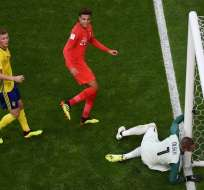 SAMARA, Rusia.- Dele Alli (centro) anotó el segundo gol favoreciendo a los ingleses. Foto: AFP