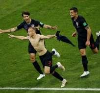 El jugador Domagoj Vida marcó un gol en la prórroga del duelo de cuartos de final contra Rusia. Foto: AFP