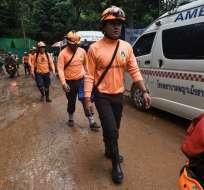 18 buceadores participan del rescate de la cueva de Tham Luang Nang Non. Foto: AFP
