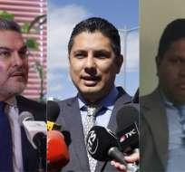 ECUADOR.- José Serrano no niega haberse reunido con Chicaiza (d). Balda lo increpa. Collage: Ecuavisa