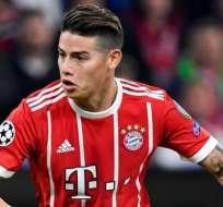 James Rodríguez juega en el Bayern de Múnich desde el 2017. Foto: AFP