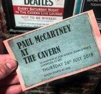 Ticket de la presentación de McCartney en Liverpool. Foto: Twitter Cavern Liverpool.