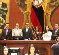 QUITO, Ecuador.- Íñigo Salvador Crespo, designado por el Consejo transitorio, fue posesionado por Asamblea. Foto: API