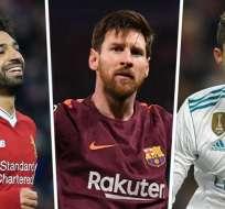 Salah, Messi y CR7 disputan el premio al mejor atacante de la Liga de Campeones. Foto: goal.com