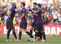 Malcom, Lionel Messi y Rafinha fueron los autores de los goles. Foto: Josep LAGO / AFP