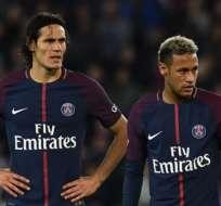 Cavani y Neymar juegan juntos en el París Saint-Germain. Foto: AFP