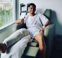 El ecuatoriano fue intervenido por la rotura del ligamento cruzado anterior de su pierna derecha. Foto: @cristhian_noboa