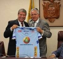 Miller Salazar, presidente del Macará, dio tres nombres de directivos nacionales. Foto: Tomada de @Macara_Oficial
