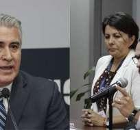 QUITO, Ecuador.- Angélica Porras y Juan Pablo Albán aclaran en rueda de prensa situación de Juan Vizueta (i). Collage: Ecuavisa