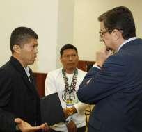 QUITO, Ecuador.- El procurador y la defensa amazónica presentaron informes del caso en la comisión de Fiscalización. Foto: API