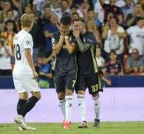 El delantero portugués vio la tarjeta roja al minuto 30 por agredir a Jeison Murillo. Foto: JOSE JORDAN / AFP