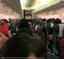 El hecho ocurrió cuando el avión viajaba desde Bombay hacia Jaipur. Foto: Captura de video